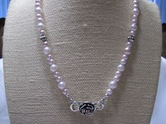 Pink Pearl Necklace  Glass Pearl Necklace  by LimeysTreasureChest, $45.00    #handmade #fantasy #victorian #women #wedding #jewelry #antique #silver #swarovski #crystal #rose