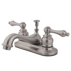 Buy the Kingston Brass Oil Rubbed Bronze Direct. Shop for the Kingston Brass Oil Rubbed Bronze Restoration Centerset Bathroom Faucet with Pop-Up Drain Assembly and Metal Lever Handles and save. Lavatory Faucet, Bathroom Sink Faucets, Bathrooms, Thing 1, Faucet Handles, Kingston Brass, Elements Of Design, Polished Brass, Solid Brass