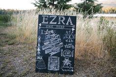 Ezra's First Birthday // One Year Illustrated Chalkboard  Little Brave Man  blog.kellitrontel.com
