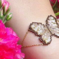 Bracelet papillon / bracelet papillon tressé avec miyuki delicas et chaîne…