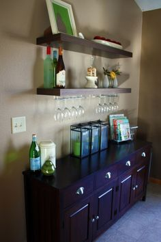 Dry Bar idea @ Pin Your Home Need to get shelves like that for mine.