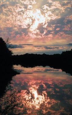 Sunset on a tranquil lake #BeautifulNature #Reflections #NaturePhotography #Nature #Photography #Sunset