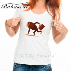 Babaseal Monkey Printed  Away With Briefcase Kawaii Japanese Anime T Shirts Hip Hop Sexy Tshirt Tops For Women T Shirt 2017 #Affiliate