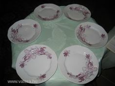 6 db antik zsolnay ritkán látható virágos tányér - 3075 Ft