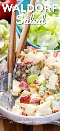 Waldorf salad combines amazing flavors like apples, grapes, walnuts, celery, and raisins in a creamy base. It& the perfect side dish! Winter Salad Recipes, Christmas Salad Recipes, Apple Salad Recipes, Shrimp Salad Recipes, Quinoa Salad Recipes, Apple Grape Salad Recipe, Waldorf Salad, Cooking Recipes, Salads