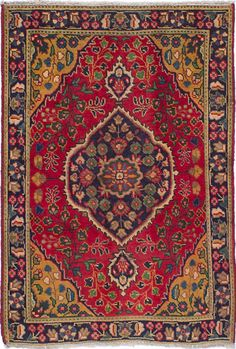 """3'1"""" x 4'6"""" Vintage Persian 1960's Bohemian Rustic Red and Gold -Rug"""
