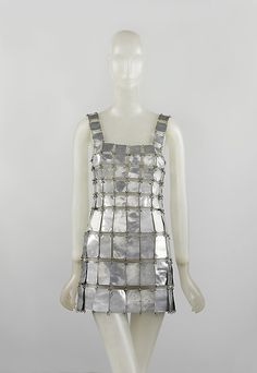 Dress, Paco Rabanne, 1967, French, metal    I love this. I love the shape, I love the way the different sized pieces work, I love the beaten look of the plates.