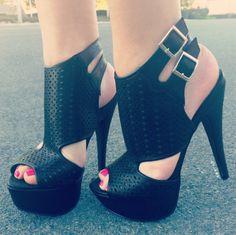 Almond Perforated Platform Heels