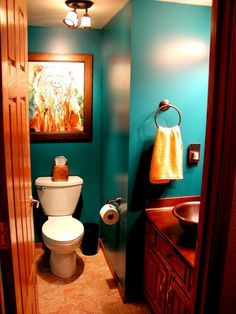 Possible bathroom color for the guest bathroom. Downstairs Bathroom, Bathroom Renos, Orange Bathrooms, Orange Bathroom Decor, Bathroom Colors, Colorful Bathroom, Neutral Bathroom, Jewel Colors, Rich Colors