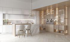 Visualization of a kitchen room for a photo studio Minimal Kitchen Design, Luxury Kitchen Design, Modern Kitchen Interiors, Home Decor Kitchen, Apartment Interior, Apartment Design, Home Room Design, Home Interior Design, Cuisines Design