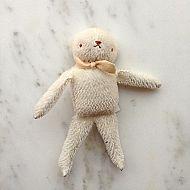 Handmade Bear Stuffed with Cotton - White Mohair