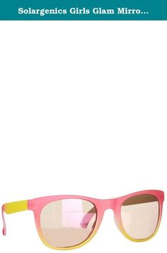 Solargenics Girls Glam Mirror Sunglasses One Size Pink/yellow. She's sure to make a splash in these sunglasses by Solargenics, featuring an colorful plastic frame and mirror-tinted, retro rectangle lenses. Man-Made Material.