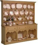 1:12th scale miniature 'scrubbed pine' Welsh cupboard filled with Stokesay Ware china