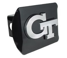 Georgia Tech University Logo Black and Silver Chrome Trailer Hitch Cover is for the Georgia Tech University or NCAA Georgia Tech Yellow Jackets sports fan and comes on a black background with large, silver Georgia Tech University text logo.