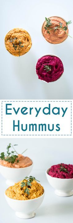 Delicious Hummus recipes that are perfect for everyday. Beetroot and Honey, Carrot and Cumin as well as a Tomato Hummus Recipe.  http://www.baking-ginger.com/everyday-hummus/