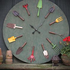 Large Decorative Clock With Garden Tools by The BIG Designer Clearance on THEHOME.COM.AU