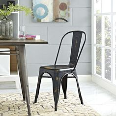 Promenade Side Chair, Copper - Usher in eclectic decor with the Promenade chair. Complete with a vintage distressed finish, Promenade exhibits the charm of the classic bistro while upgrading your breakfast nook or dining room with a modern piece that breathes exceptionalism to your room. Mix-and-match with a chair that transforms eating spaces and enlivens coffee time. Set Includes: One - Promenade Side Chair. Material: Distressing powder coated steel with PP foot pad Chair Weight Capacity…