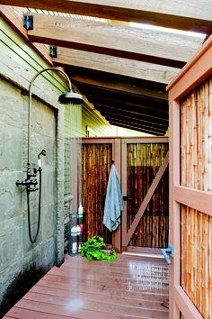 Outdoor shower. Photo by Craig Thompson. Story: Happy & Healthy, www.housetrends.com
