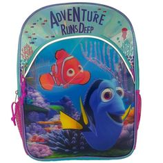 Extra-Storage-Girls-Backpack-for-Back-to-School-Finding-Dory-Disney W/2 Pockets