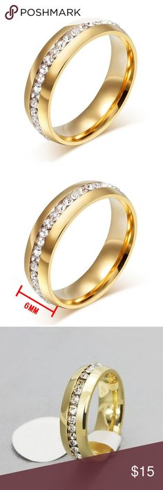 Women Ring Band Wedding Stainless Steel Valentines Women Ring Band Wedding Stainless Steel Engagement Jewelry Gold 6MM   100% Brand new and high quality Guarantee.  Price for 1 Piece of Ring  Material: Stainless Steel Finishing: Brushed  Width: 6mm  Color: Gold  Package Include : 1 Pc   Best gift for Valentines Day  This is artificial Jewelry, Not real stone or Gold. Jewelry Rings