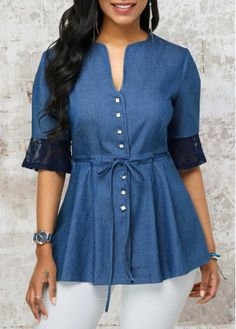 trendy tops for women online on sale Blouse Styles, Blouse Designs, Stylish Dresses, Fashion Dresses, Short Kurti Designs, Fancy Kurti, Trendy Tops For Women, Denim Blouse, Kurti Designs Party Wear