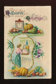 Vintage Postcard~Hallowe'en Dated 1918 ~Lady Looks in Mirror~AS IS--mmm853
