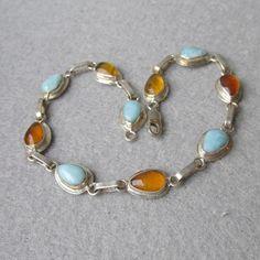 "Honey Amber & Amazonite Sterling Silver Vintage Bracelet, Size Large 8 1/2"""