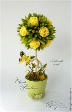 """Купить Топиарий, деревце счастья из лагуруса """"На крыльях лета"""" - салатовый, зеленый, желтый, топиарий"""