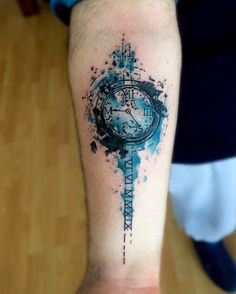 Watercolor clock forearm tattoo - 100 Awesome Watch Tattoo Designs  <3 <3