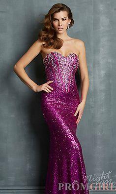Long Strapless Sweetheart Sequin Dress at PromGirl.com#prom#dress#promdress