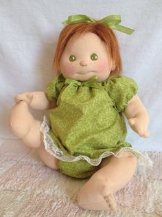 Red headed soft sculpture doll by CutiePieBaby on Etsy
