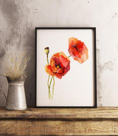 Red Poppy Watercolor Painting Print Poppies Illustration