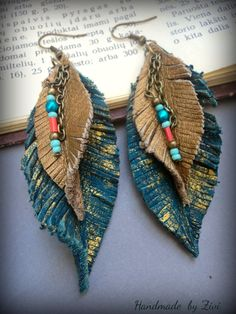 Long leather earrings teal blue earring by elrinconcitodezivi