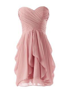 Dressystar Kurzes Trägerloses Chiffon Partykleid Abendkleid Blush in Größe 32