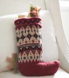 Fetching Fair Isle Pattern Stocking | AllFreeChristmasCrafts.com