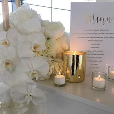 White and gold styling elements with candles via @styled_by_coco