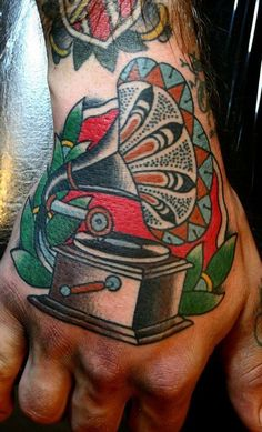 Phonograph Hand Tattoo Ryan Cooper Thompson #tattoos, #tats, #bodyart, https://apps.facebook.com/yangutu