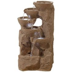 Mineral Springs Sandstone Floor Fountain with LED Lights - #4R558 | LampsPlus.com
