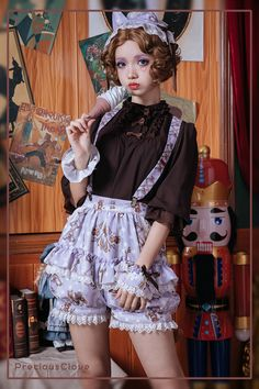 Precious Clove -Private Cat- Sweet Ouji Lolita Short Pants - My site Fashion In, Lolita Fashion, Cute Fashion, Gothic Fashion, Fashion Dresses, Kawaii Dress, Kawaii Clothes, Harajuku Fashion, Kawaii Fashion