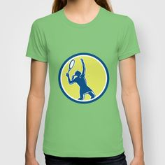 Tennis Player Female Racquet Circle Retro T-shirt