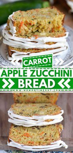 Apple Zucchini Bread, Lemon Zucchini Cakes, Fruit Bread, Zucchini Bread Recipes, Healthy Banana Bread, Quick Bread Recipes, Easy Bread, Healthy Gourmet, Gourmet Recipes