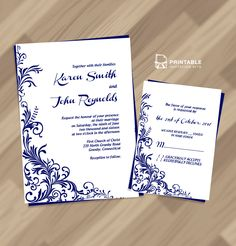 Free PDF Wedding Invitation Download - Foliage Borders Invitation and RSVP Wedding Templates - easy to edit and print at home.