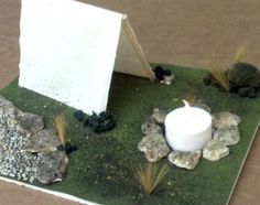 How to make a tent campsite - complete with a tea light candle for the camp fire!