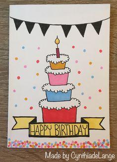 Hergestellt von CynthiadeLange - diyevent All Pictures Creative Birthday Cards, Homemade Birthday Cards, Birthday Crafts, Funny Birthday Cards, Homemade Cards, Birthday Humorous, Birthday Sayings, Birthday Images, Birthday Doodle