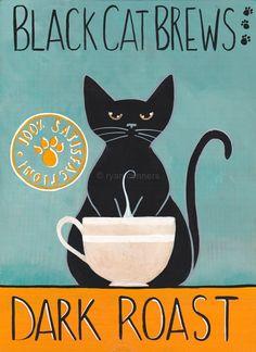 Black Cat Brews Sign Original Coffee Cat Folk Art Painting by KilkennycatArt