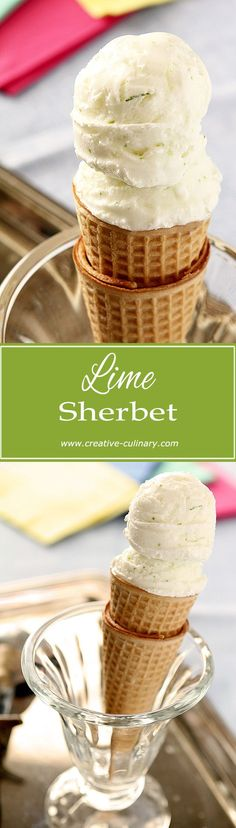 Homemade Lime Sherbet is so easy to make and the difference is REMARKABLE! via @creativculinary