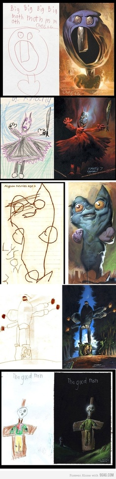 Children's paintings drawn realistically