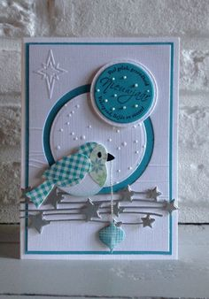 MD Col1392 Eline's birds - MD design folder Winter Landscape Df3421 en Cuttlebug Snowflakes - MD Fulling Stars Cr1294 - Memory box Die Precious Ornamens