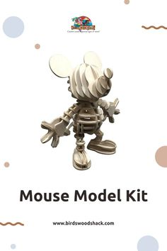 """This 3D wooden model puzzle kit is based on Mickey Mouse. This model will NOT come painted or assembled. The model will be carved out with a laser machine on a 1/8"""" sheet of Baltic Birch plywood. Mickey will be approximately 7.5"""" wide x 7.25"""" deep x 7.25"""".high when assembled. #wood #modelhouse #americanhouse #gift #decor #bird'swoodshack #puzzle #mouse"""