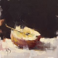 8 x 8″, Sliced Apple Study, Oil on fine canvas board.